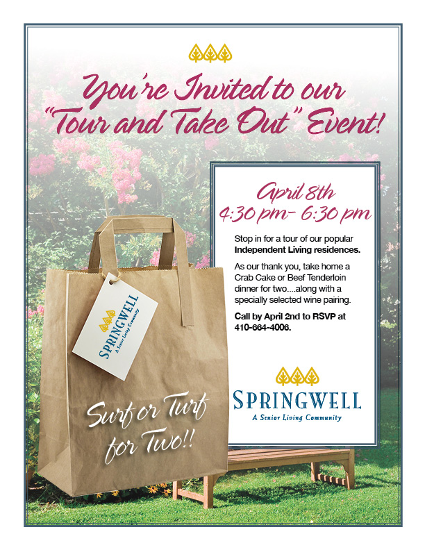 Independent Living Event Tour And Take Out April 8th Springwell Senior Living